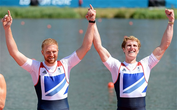George Nash (right) and Will Satch celebrate their London 2012 bronze medal in the Men's Pair