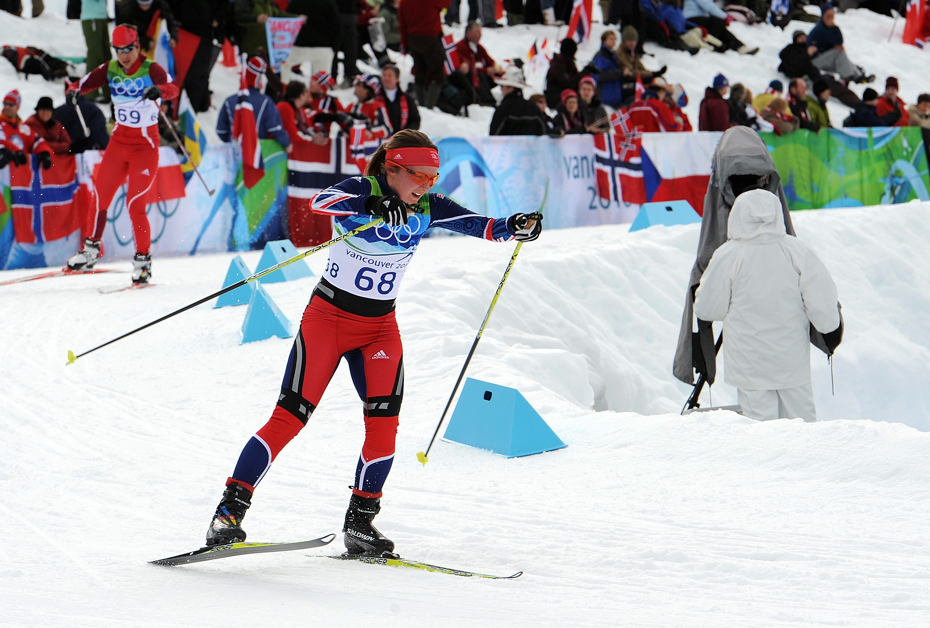 Fiona competing in the 10km cross-country skiing race at the Winter Olympics in 2010