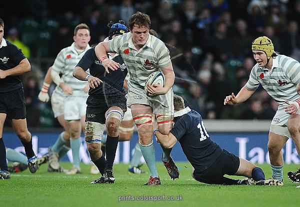 Rugby Union - 2014 Varsity Match - Oxford University vs. Cambridge University Cambridge's Jack Baker is tackled at Twickenham. COLORSPORT/ANDREW COWIE