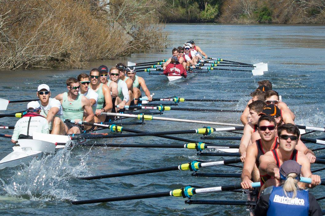 The crews come together as Waikto tuck in out of the stream. Photo: Rowing Celebration.