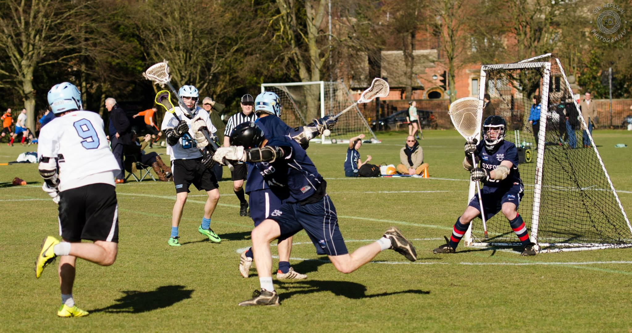 Nick Evans unleashes a shot at the Oxford goal in the Varsity Match 2015