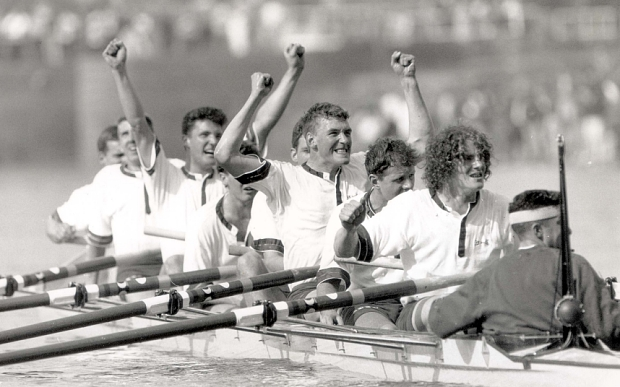 Mandatory Credit: Photo by Andy Hooper/Daily Mail/REX (920908a)  1991 Oxford V Cambridge Boat Race.the Triumphant Oxford Crew Led By Rupert Obholzer (frizzy-haired -right) And Matthew Pinsent (centre With Arms Aloft In Celebration.after The Win Obholzer Caused Uproar By Giving Cambridge 'the Finger'.in 1996 He Won A Bronze Medal In The British Coxless Fours.in 2001 Obholzer Caused Uproar Again When As The Umpire Of The Race He Re-started The Crews After Cambridge Lost An Oar After The Boats Collided.to Date Pinsent Has Won 3 Olympic Gold Medals.   1991 Oxford V Cambridge Boat Race.the Triumphant Oxford Crew Led By Rupert Obholzer (frizzy-haired -right) And Matthew Pinsent (centre With Arms Aloft In Celebration.after The Win Obholzer Caused Uproar By Giving Cambridge ''the Finger''.in 1996 He W