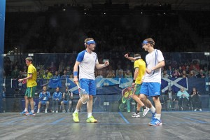 Harry Leitch playing for Scotland (credit Squashpics)