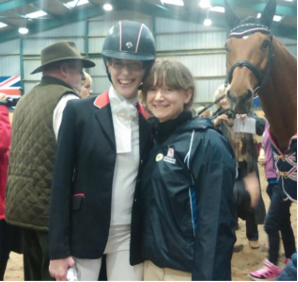 Sophie Christiansen (L), Lizzie (C) and Sophie's Horse Janeiro (R)