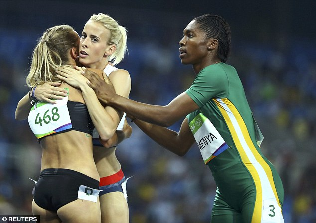 Linsey Sharp (middle) has come under criticism for her comments regarding Semenya,