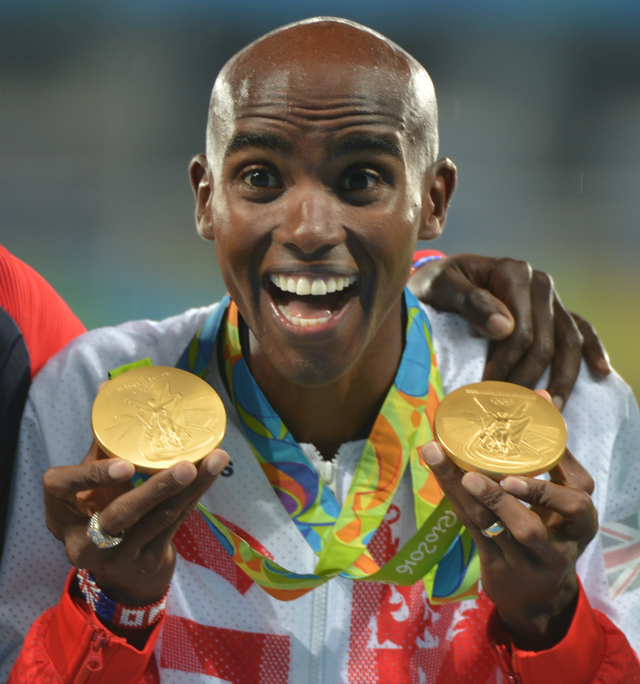 Mo Farah celebrates his 'double-double'  Credit: Wikimedia Commons