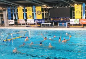 The Water Polo team taking on their opposition from BVSC on tour in Budapest.