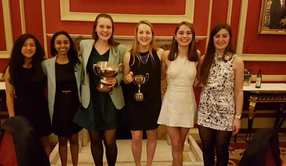 The victorious ladies! From left, Anisa Shahira, Anira Perera, Laura Mullarkey (PotM), Katie Hanlon (Captain), Miranda Nicholson and Sasha Haco.