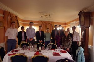 Some of the HOATS committee with Wasim at the dinner post-talk (credit: Arav Gupta).